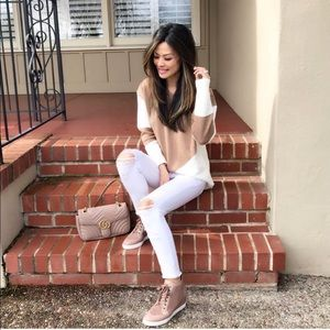 Sweaters - Camel and White Sweater